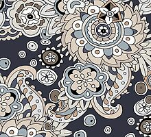 WALLFLOWERS DARK GRAY PAISLEY COLLECTION by veggiemuse