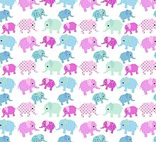 Cute pink teal floral polka dots elephants pattern by Maria Fernandes