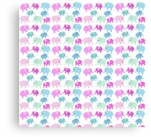Cute pink teal floral polka dots elephants pattern Canvas Print