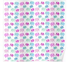 Cute pink teal floral polka dots elephants pattern Poster