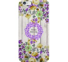 Vintage colorful mothers day floral rustic wood iPhone Case/Skin