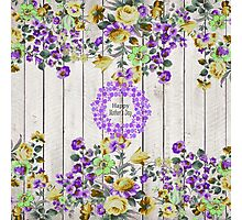 Vintage colorful mothers day floral rustic wood Photographic Print