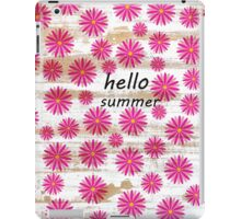 Pink abstract floral pattern rustic white wood iPad Case/Skin