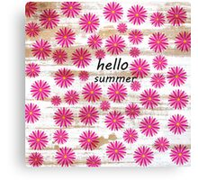 Pink abstract floral pattern rustic white wood Canvas Print
