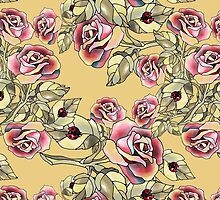 Rose Garden Floral Pattern Yellow by veggiemuse