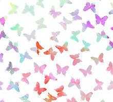 Vintage pastel watercolor cute butterflies pattern by Maria Fernandes