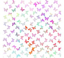 Vintage pastel watercolor cute butterflies pattern Photographic Print