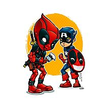 Deadpool and Captain America Photographic Print
