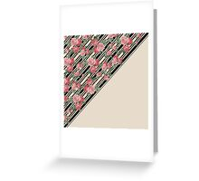 Pink vintage roses floral black stripes pattern Greeting Card