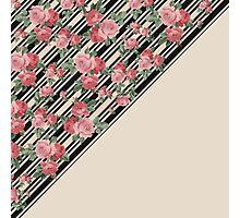 Pink vintage roses floral black stripes pattern Photographic Print