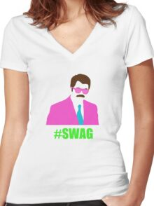 Swagga Ron Swanson Women's Fitted V-Neck T-Shirt