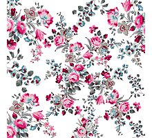 Vintage girly pink blue gray floral pattern Photographic Print