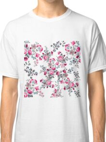 Vintage girly pink blue gray floral pattern Classic T-Shirt