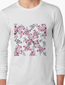 Vintage girly pink blue gray floral pattern Long Sleeve T-Shirt