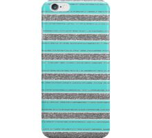 Turquoise white silver faux glitter stripe pattern iPhone Case/Skin
