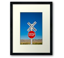 USA. New Mexico. Route 66. near Montoya. Railroad Crossing and sign. Framed Print