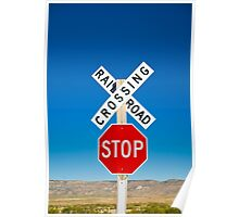 USA. New Mexico. Route 66. near Montoya. Railroad Crossing and sign. Poster