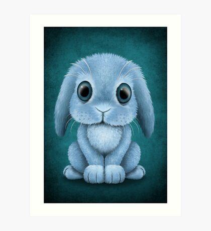 Cute Blue Baby Bunny Rabbit  Art Print