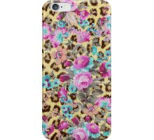 Vintage colorful floral brown yellow animal print iPhone Case/Skin