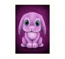 Cute Purple Baby Bunny Rabbit  Art Print