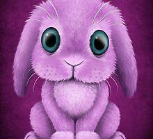 Cute Purple Baby Bunny Rabbit  by Jeff Bartels