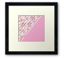 Pink vintage roses floral yellow stripes pattern Framed Print