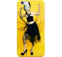 Clubbing woman yellow background iPhone Case/Skin