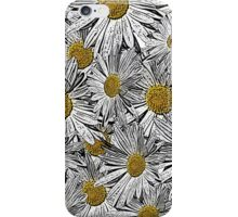 Abstract black and white daisies floral pattern iPhone Case/Skin