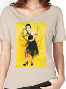 Clubbing woman yellow background Women's Relaxed Fit T-Shirt