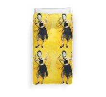 Clubbing woman yellow background Duvet Cover