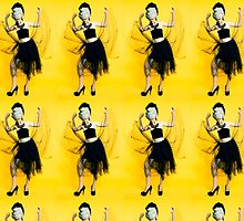 Clubbing woman yellow background by PhotoStock-Isra