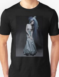 Atmospheric image of a veiled woman on black background  Unisex T-Shirt