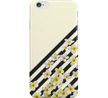 Vintage black yellow stripes white tropical floral iPhone Case/Skin