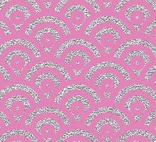 Pink silver faux glitter retro scallop pattern by Maria Fernandes