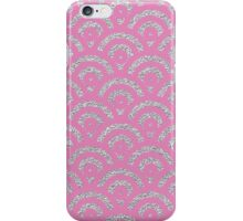 Pink silver faux glitter retro scallop pattern iPhone Case/Skin