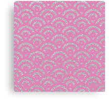 Pink silver faux glitter retro scallop pattern Canvas Print