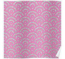 Pink silver faux glitter retro scallop pattern Poster