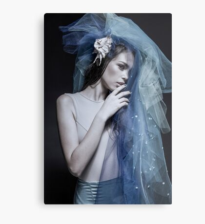 Atmospheric image of a veiled woman on black background  Metal Print