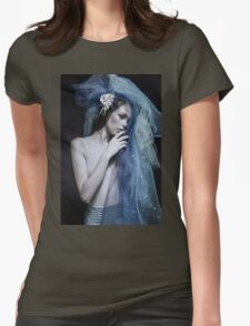 Atmospheric image of a veiled woman on black background  Womens Fitted T-Shirt