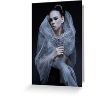 Atmospheric image of a veiled woman on black background  Greeting Card
