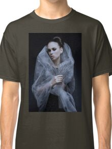 Atmospheric image of a veiled woman on black background  Classic T-Shirt