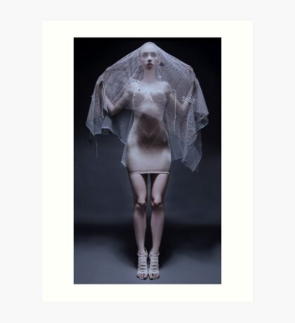 Atmospheric image of a veiled woman on black background  Art Print
