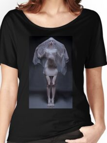 Atmospheric image of a veiled woman on black background  Women's Relaxed Fit T-Shirt