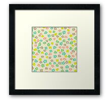 Vintage pink green abstract floral pattern Framed Print