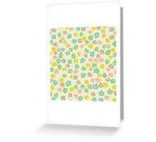 Vintage pink green abstract floral pattern Greeting Card