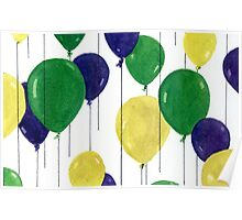 Party Balloons Watercolour Painting - Balloon Series Poster
