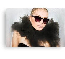 Woman with sunglasses submerged in water  Canvas Print