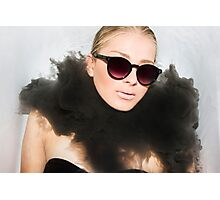 Woman with sunglasses submerged in water  Photographic Print