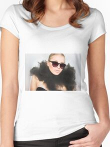 Woman with sunglasses submerged in water  Women's Fitted Scoop T-Shirt