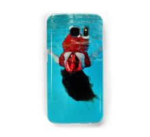 Woman with red mask floats in a pool Samsung Galaxy Case/Skin
